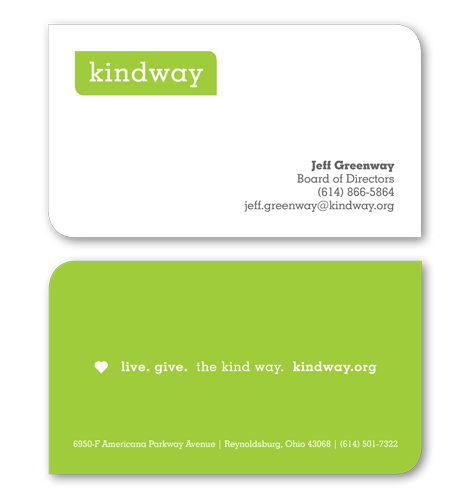 charity business card design kindway greater columbus nonprofit organization - Non Profit Business Cards